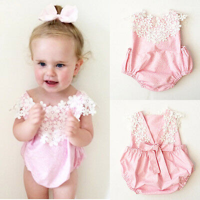 AU Stock Lace Newborn Baby Girls Romper Jumpsuit Toddler Summer Clothes Outfits