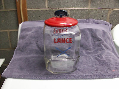 Super Lance Peanut Jar with Original Red and Blue Tin Lid!