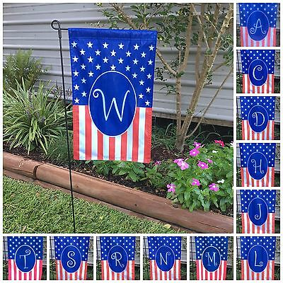 Monogrammed Holiday Small Garden Flag 4th July, USA America Gift Home 12X19