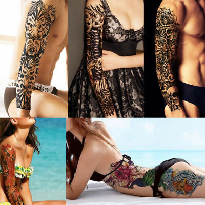 UK Large Full Arm Sleeve Temporary Tattoo Stencil Sticker Body Art 3D Waterproof