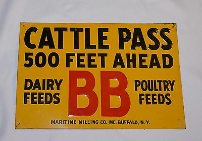 BB Feeds-Maritime Milling Adverising Tin Sign~Cattle Pass-Cow Crossing-Farm~Vtge