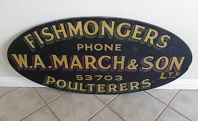 Antique WA March Fishmongers Poulterers store advertising sign England local PU