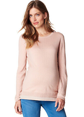 NEW - Esprit - Knit Maternity Jumper w Blouse Hem in Champagne Pink