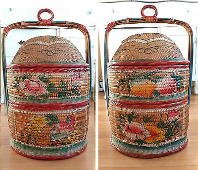 Vintage Chinese Wedding Basket Painted Oriental Stacking Two Tier Basket