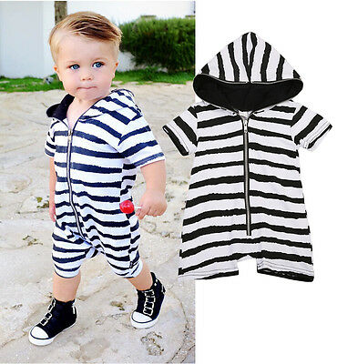 AU Stock Newborn Baby Boys Girls Hooded Romper Bodysuit Jumpsuit Clothes Outfits