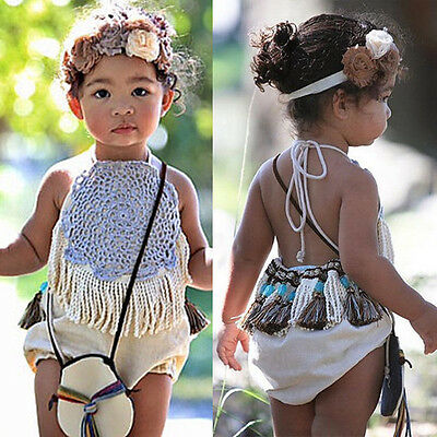 AU Boho Infant Baby Girl Backless Romper Jumpsuit Bodysuit Clothes Outfit