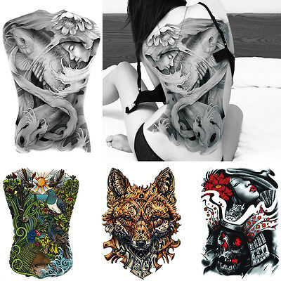 UK Big Man Lady Waterproof Full Back front 3D Temporary Tattoo Stencil Body Art