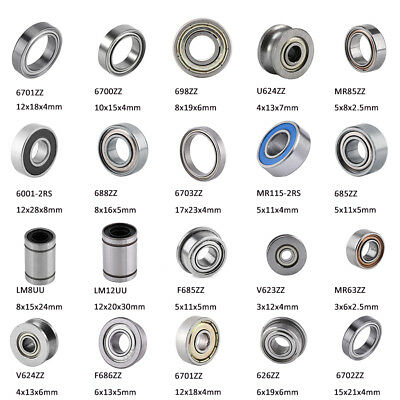 10pc Double Shielded Flanged Roller Bearings Linear Motion Ball Bearings Bushing
