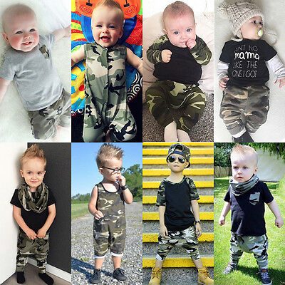 AUStock Camouflage Toddler Infant Baby Boy Romper Tops Pants Outfits Set Clothes