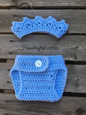 Handmade Crown Baby Outfit , Crochet Crown And Diaper Cover, Baby Photo Prop