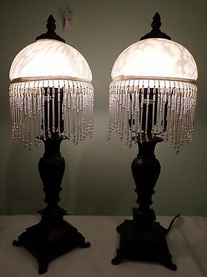 Vintage Pair Of Bedside Lamps..white Frosted Glass With Beaded Fringe..