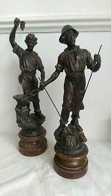 Pair Of Vintage Spelter Blacksmith Figures On Wooden Plinths