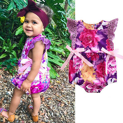 AU Stock Baby Girls Kids Floral Romper Jumpsuit Bodysuit Summer Outfits Clothes