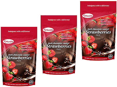 Morlife Dark Chocolate Strawberries 125g x3 | Healthy Snack | Gluten Free