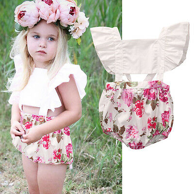 AU Stock Toddler Baby Girls Kids Floral Romper Bodysuit Jumpsuit Outfits Clothes