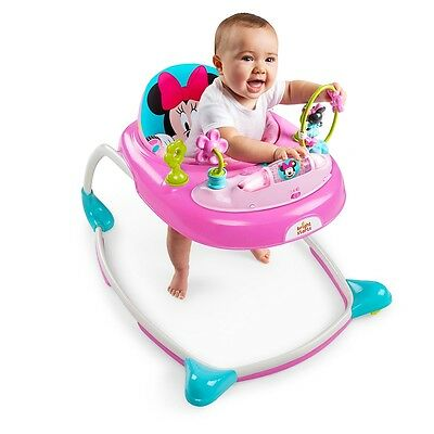 Bright Starts Minnie Mouse Baby Walker, Adjustable Infant Activity  Musical Toy