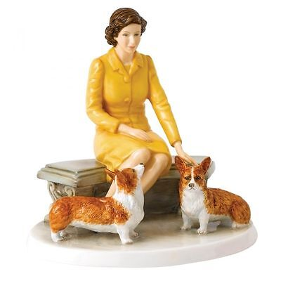 Royal Doulton  Queen Elizabeth with Corgi dogs   HN 5807    Hand signed  #283