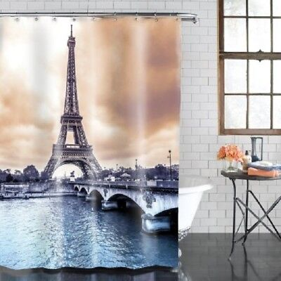 City View Of Paris France Eiffel Tower Fabric Shower Curtain Size 70 X