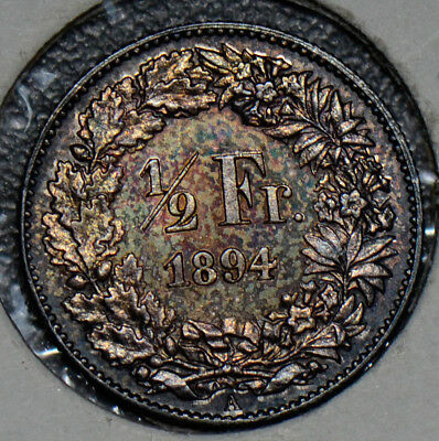 S0168 Switzerland 1894 A 1/2 Franc silver gorgeous toning combine shipping