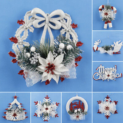 Christmas Xmas Tree Snowflake Elk Wall Hanging Ornament Party Home Decoration