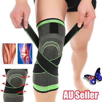 1x 3D Weaving Knee Brace Breathable Sleeve Support for Running Jogging Sports BO