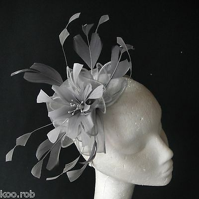 Silver Grey Feather Fascinator For Races, Proms , Weddings