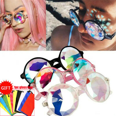 Kaleidoscope Round Crystal Lens Dance Rave Festival Party EDM Sunglasses Glasses