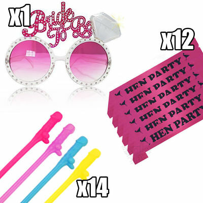 Hen Party Bride To Be Set Glasses Sashes Straw Hen Do Night Sash Accessories