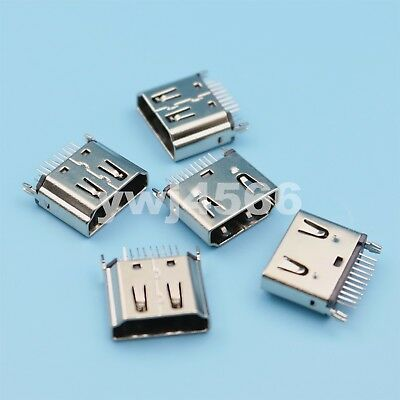 5Pcs HDMI Type A Female DIP Two Row 19Pin 180 Degree PCB Solder Connector