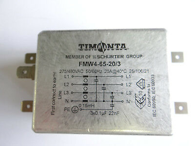 FMW4-65-20/3 Timonta Schurter 250/440VAC,Industrial Version 3-Phase Block Filter