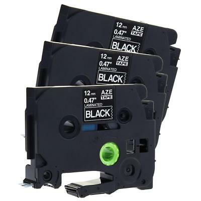Label Tape TZe335 12mm 8m Compatible for Brother P-Touch White on Black 3pk