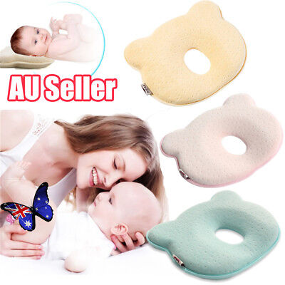 Baby Infant Newborn Memory Foam Pillow Prevent Flat Head Anti Roll Support Bear