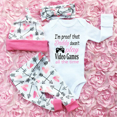 AU Newborn Toddler Baby Girls Clothes Romper Jumpsuit Bodysuit+Pants Outfits Set