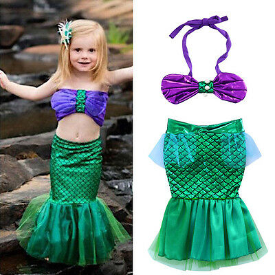AUStock Xmas Little Mermaid Set Girl Princess Dress Party Cosplay Costume Outfit