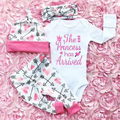 AU Newborn Infant Baby Girl Romper+Pants Jumpsuit Bodysuit Clothes Outfits Set