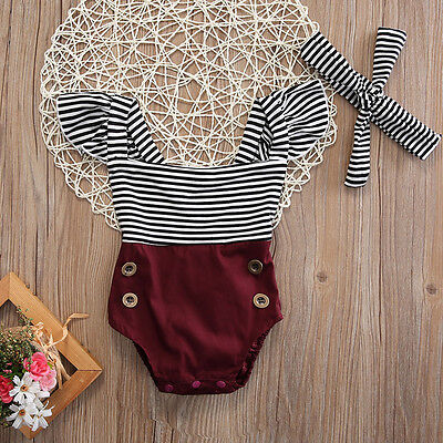 AU Newborn Toddler Baby Girl Clothes Romper Bodysuit+Headband Sunsuit Outfit Set
