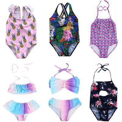 AU Stock Kids Girl Toddler Floral Bathing Suit Swimsuit Bikini Set Swimwear