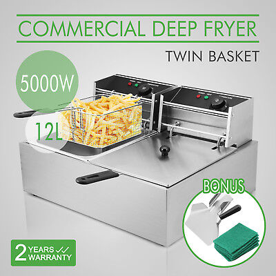NEW Commercial Deep Fryer Electric Griddle Double Hot Food Chips 12L AU Stock