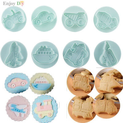 8 pcs Car Boat Airplane Train & Truck Engineering Plastic Plunger Cookie Cutter