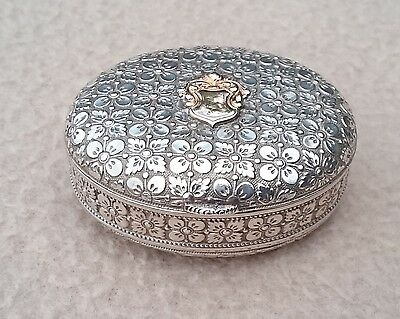Stunning Quality Antique Continental German Solid Silver & Gold Snuff / Pill Box