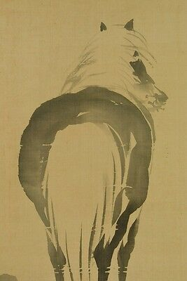 Hanging Scroll Japanese Painting Horse Japan Antique 丹陵 邨田 art Old ink Pic a476