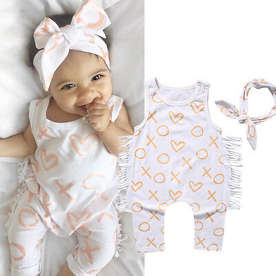 AU Newborn Kids Baby Girl Bodysuit Romper Jumpsuit+Headbands Outfit Clothes Set