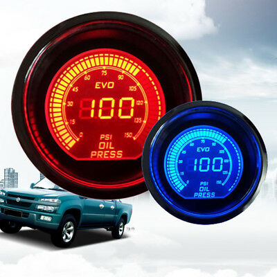 "2"" 52mm Oil Pressure Gauge Digital Meter Universal For Car Motor Auto Smoke LED"