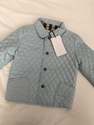 BURBERRY BABY BOYS BLUE QUILTED JACKET 24months