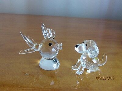 Cute Faceted Crystal Glass Dog & Fish Figurines