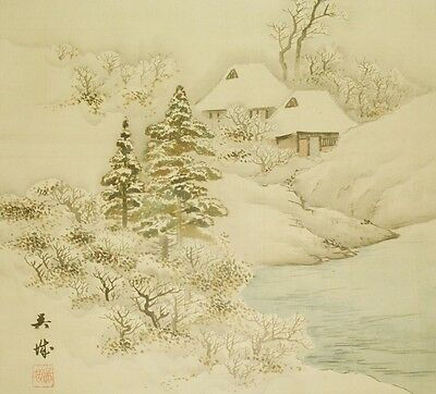 Hanging Scroll Japanese Painting Landscape Winter art Japan Antique Picture b503