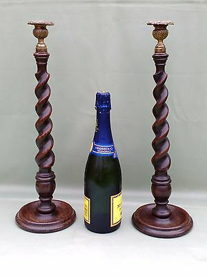 """Pair Unusually Tall 18"""" Antique Wood Twist Candlesticks With Brass Sconces"""
