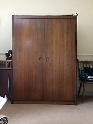 Last Time Listing Ladies Vintage Dark Wood Double Wardrobe
