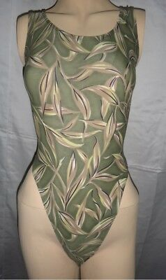 New Leaf Pattern Thong Leotard for Women size 8 Small