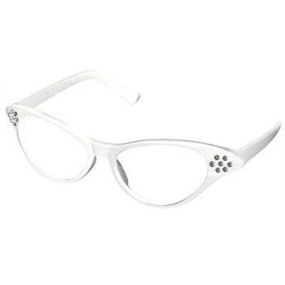 Smallwise Trading White 50's Grease Retro Ladies Girls Cat Eye Glasses Rock
